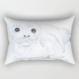 Baby Harp Seal Watercolor Rectangular Pillow