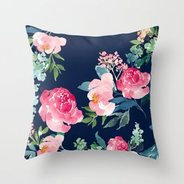 Navy and Pink Watercolor Peony Throw Pillow