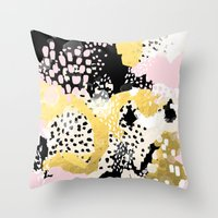 coachella Throw Pillows featuring Simone - abstract painting gold foil trendy hipster pastel pink modern trendy colors decor college by CharlotteWinter
