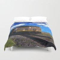 train Duvet Covers featuring Train by Phil Flaig