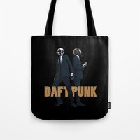daft punk Tote Bags featuring Daft Punk by joshuahillustration