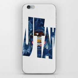 Utah Typographic Flag Map Art iPhone Skin