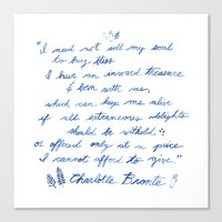 jane eyre Canvas Prints featuring Jane Eyre Quote by Eden Cooke