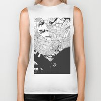 singapore Biker Tanks featuring Singapore Map Gray by City Art Posters