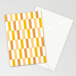 Long Blocks Mustard and White Geometric Pattern Stationery Cards