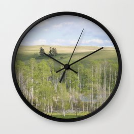 Lake and trees landscape Wall Clock