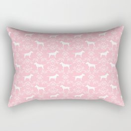 Bull Terrier silhouette florals dog breed pet pattern floral terriers bull terriers gifts Rectangular Pillow