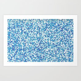 Blue tiles background Art Print