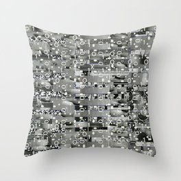 Knowing Wink (P/D3 Glitch Collage Studies) Throw Pillow