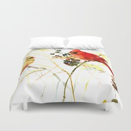 Two Red Cardinals Duvet Cover