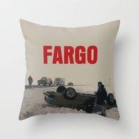fargo Throw Pillows featuring Fargo Movie Poster  by FunnyFaceArt