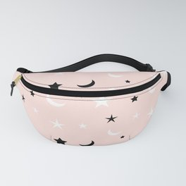 Pink background with black and white moon and star pattern Fanny Pack