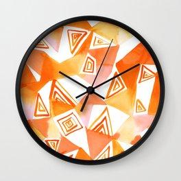 Geo Triangle Orange Wall Clock