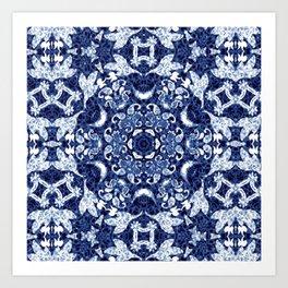 Boho Blue Medallion Art Print
