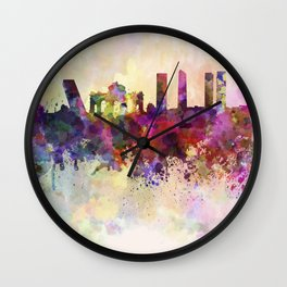 Madrid skyline in watercolor background Wall Clock