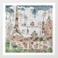 paris map Art Prints featuring Paris Map by Paula Belle Flores