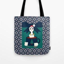 Hot Cocoa Holiday Penguin Quatrefoil Tote Bag