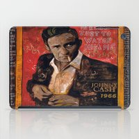 johnny cash iPad Cases featuring Red Johnny Cash by Ray Stephenson