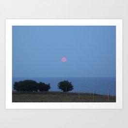 Moon Rise over Ales Stenar  Art Print