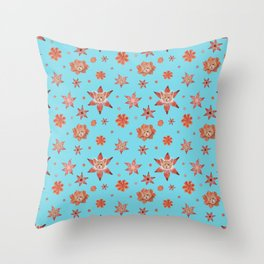 Cats on flowers with sky blue background Throw Pillow