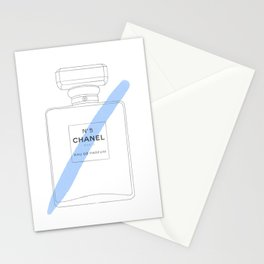 blue paint stroke perfume Stationery Cards