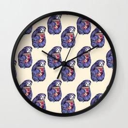 purple sloth eating pizza Wall Clock
