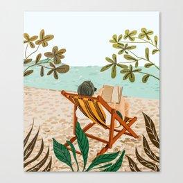 Vacay Book Club #illustration #tropical Canvas Print