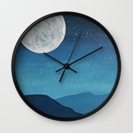 Moon over Mountains Wall Clock