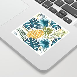 Golden pineapple on palm leaves foliage Sticker