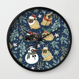 Christmas Pugs Wall Clock