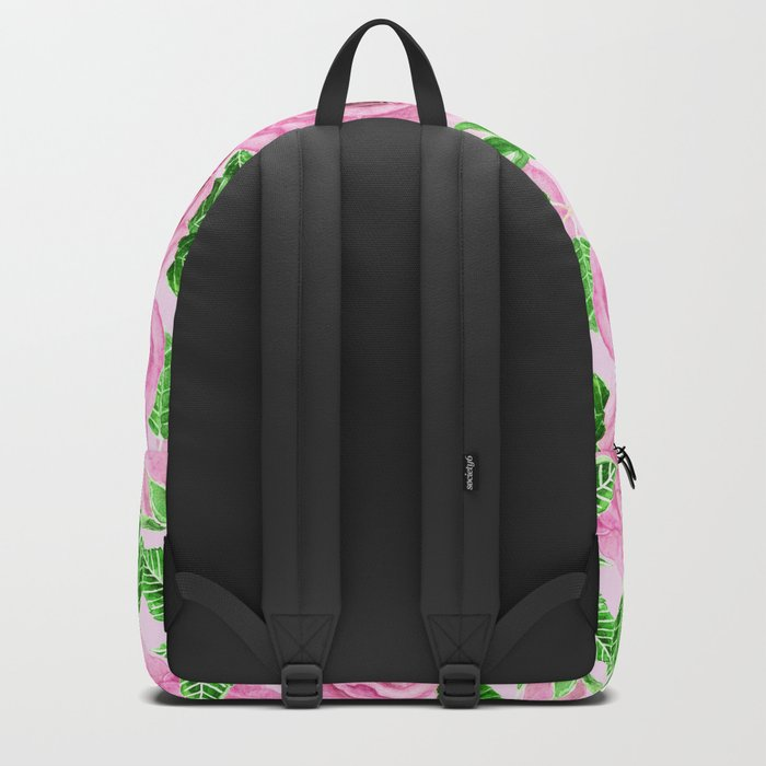 Pink watercolor roses with leaves and buds pattern Backpack