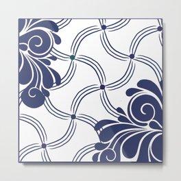 Navy and White Swirls Metal Print