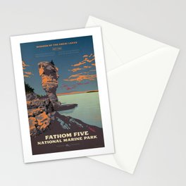 Fathom Five National Park Poster (Flowerpot Island) Stationery Cards