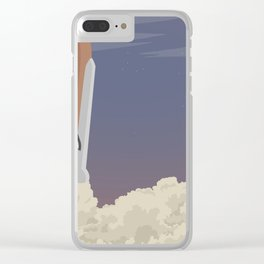 blast off launch pad Shuttle flies into space Clear iPhone Case
