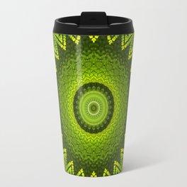 Mandala with green  fern leaves ornaments Travel Mug
