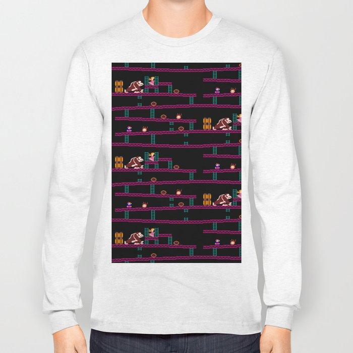 Donkey Kong Retro Arcade Gaming Design Long Sleeve T-shirt