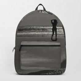 Beach black white light Backpack
