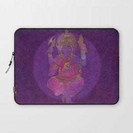 Ganesha hindu god watercolor gold purple art Laptop Sleeve