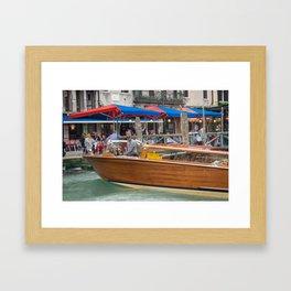Macho Cigarette Smoking Boatman in Venice Framed Art Print