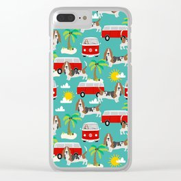 Basset Hound mini van tropical dog breed pattern hippie van custom dog portraits Clear iPhone Case