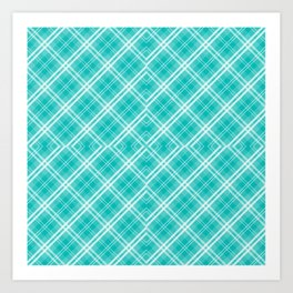 Blue & White Diagonal Plaid Scottish Clan McTiffany Art Print