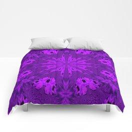 Peacock Double Kaleidoscope Purple Comforters