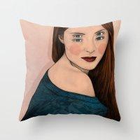 iris Throw Pillows featuring Iris by Sofia Azevedo