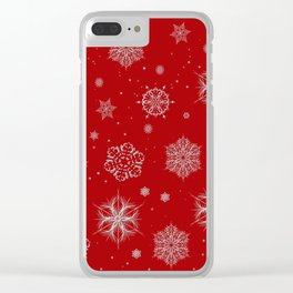 Silver snowflakes Clear iPhone Case