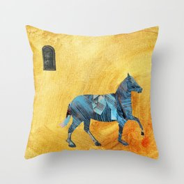 Blue horse passing window Throw Pillow