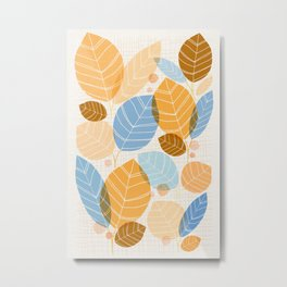 Golden Aspen / Abstract Leaf Illustration Metal Print