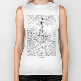 Sydney Map White Biker Tank