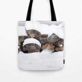 Snow Covered Wood Pile Tote Bag
