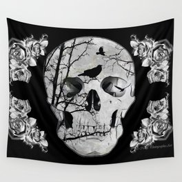 Gothic Skull Crow Rose A353 Wall Tapestry