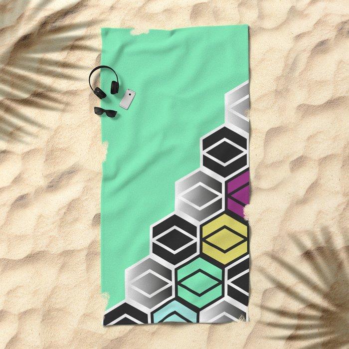 HexagonWall Beach Towel